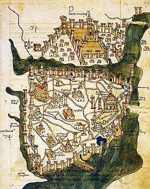 Maiden's Tower - Map of Constantinople (1422) by Florentine cartographer Cristoforo Buondelmonti, showing Pera at the north of the Golden Horn, Constantinople at south, and the Maiden's Tower at right, in the middle of the sea, near the coast of Üsküdar on the Asian side of the Bosphorus.