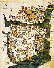 Map of Constantinople (1422) by Florentine cartographer Cristoforo Buondelmonti  is the oldest surviving map of the city, and the only one which antedates the Turkish conquest of the city in 1453