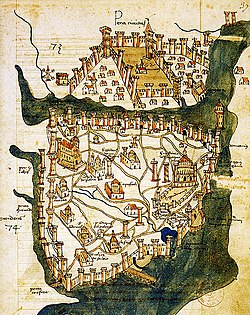Map of Constantinople (1422) by Florentine cartographer Cristoforo Buondelmonte, showing Pera (Beyoğlu) at the north of the Golden Horn and the peninsula of Constantinople at south