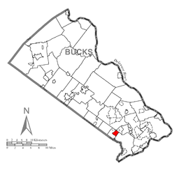 Map of Feasterville-Trevose, Bucks County, Pennsylvania Highlighted.png
