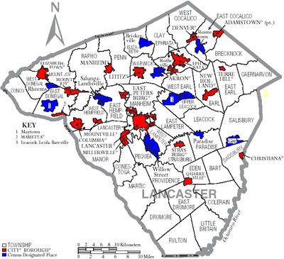 Map of Lancaster County Pennsylvania With Municipal and Township Labels.png