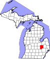 State map highlighting Genesee County