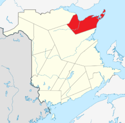 Map of New Brunswick highlighting Gloucester County.png
