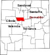 State map highlighting Bernalillo County
