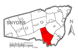 Map of Snyder County, Pennsylvania highlighting Perry Township