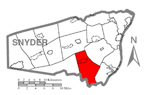 Perry Township, Snyder County, Pennsylvania - Image: Map of Snyder County, Pennsylvania Highlighting Perry Township