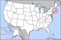 Kort over USA med Rhode Island markeret