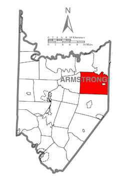 Map of Armstrong County, Pennsylvania highlighting Wayne Township