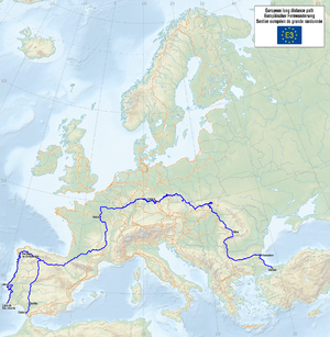 E3 European long distance path - Map of European long-distance paths E3