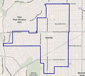 Hyde Park, Los Angeles - The Hyde Park neighborhood of the city of Los Angeles, as mapped by the Los Angeles Times