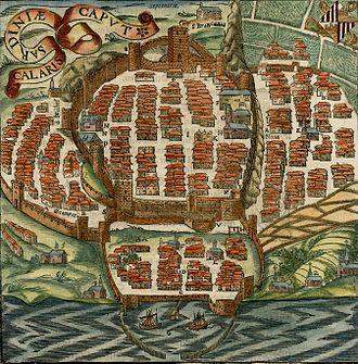 Timeline of Cagliari - Map of Cagliari from Münster's Cosmographia, 1544