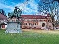 Marcus Aurelius statue and Lyman Hall at Brown University.jpg