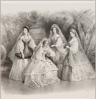 Maria Alexandrovna (Marie of Hesse) - Tsarina Alexandra Feodorovna (Charlotte of Prussia) with her daughter Maria Nikolaevna and her daughters-in-law: Grand Duchesses Maria Alexandrovna and Alexandra Iosifovna, 1853.