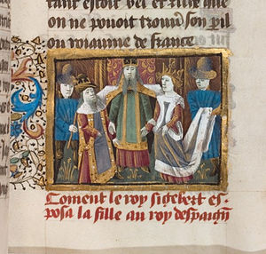 Sigebert I - Marriage of Sigebert and Brunhilda, Grandes Chroniques de France, from a MS of the fifteenth century (Bibliothèque nationale de France).
