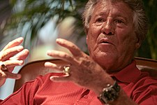 Mario Andretti being interviewed at the Barber Legends of Motorsport 2010.jpg