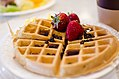 Marriott Waffle with chocolate chips and strawberries (13996768193).jpg
