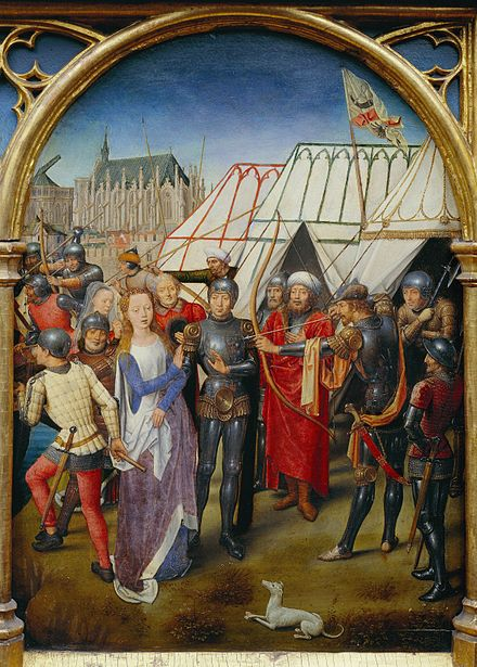 Martyrdom of Saint Ursula, by Hans Memling. The turbaned and armored figures represent Huns. Martyrdom of Saint Ursula, by Hans Memling.jpg