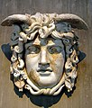 Mask of the Gorgon Medusa, dating from c. 130 AD and found in the Forum Romanum in Rome, Romisch-Germanisches Museum, Cologne (8115605754).jpg