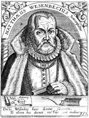 Matthew Wesenbeck - Engraving of Matthew Wesenbeck from an evangelical church in Wittenberg, Germany