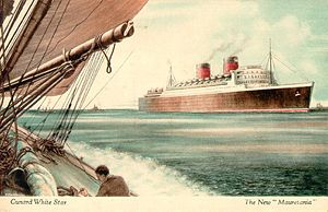 RMS Mauretania (1938) - Mauretania in an old postcard