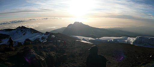 Mawenzi Cone at sunrise from Kilimanjaro crater rim
