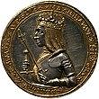 Een goud-en-zilveren munt met de buste van een gekroonde man in harnas, met een scepter en een zwaard.  De buste is omgeven met de tekst 'Maximilianus Dei Gra Rex & Imper Augustus'.