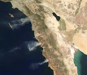 2014 California wildfires - Satellite image of the wildfires in Southern California and Baja California, on May 15, 2014.
