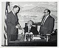 """Mayor John F. Collins is presented with new revised copy of """"The Freedom Trail"""" Brochure by committee represented by L to R Mr. Gerald Bleichen and Robert Freidmann (13847980965).jpg"""