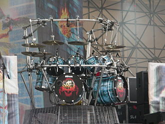 Drum hardware - Cymbals, hanging toms, a floor tom and even the bass drums are supported by this drum rack