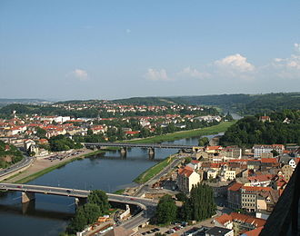 Borsdorf–Coswig railway - Meissen Elbe bridge (in background)
