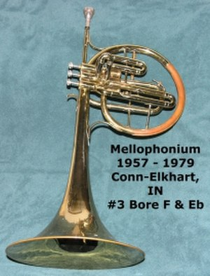 Mellophone - The type of Mellophonium used by Stan Kenton's orchestra, which variously used mellophone mouthpieces and a specially designed horn-trumpet hybrid mouthpiece for Stan Kenton's band.