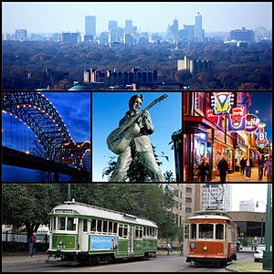 From top left: Downtown Memphis Skyline from Clark Tower, the Hernando de Soto Bridge, the Statue of Elvis, Beale Street and Main Street MATA Trolleys
