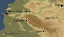 map showing the higher ground in brown, running from the bottom right to top left and the lower surrounding areas in green