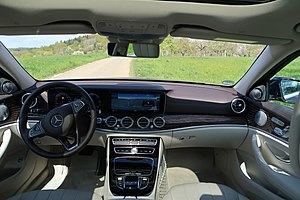 Mercedes-Benz E-Class (W213) - The interior with two 12.3-inch full HD screens housed within a single unit.