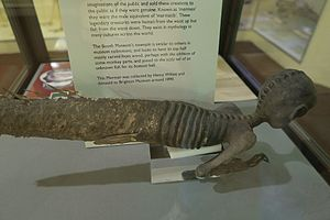 Fiji mermaid - A merman constructed out of wood carving, and parts of monkey and fish, Booth Museum, Brighton
