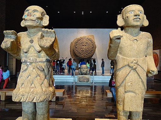 Mexica Figures with Calendar Stone - Museum of Anthropology - Mexico