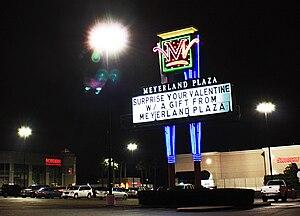 Meyerland Plaza - Meyerland Plaza sign at night