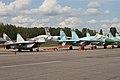 MiG-29UBT Fulcrum 74 red & Su-27 Flanker 24 red (8507725259).jpg