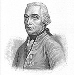 Black and white print shows a white-haired man in a white military coat. He has his right thumb tucked into his belt while his left hand rests on a table.