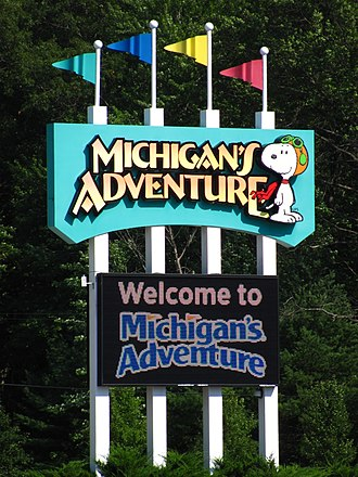 Michigan's Adventure - Snoopy in the entrance sign