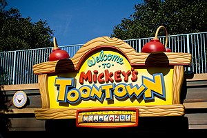 Mickey's Toontown - The entrance sign at Disneyland in California