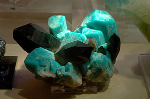 Mineralogy of the Pikes Peak Region - Microcline feldspar variety amazonite with smoky quartz from Two Point Claim, Teller County