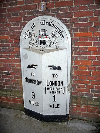 Mile - Image: Milestone, Knightsbridge, London geograph.org.uk 1590514