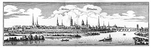 Bishopric of Minden - Historic view of Minden around 1647
