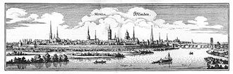 Bishopric of Minden - Historic view of Minden around 1647