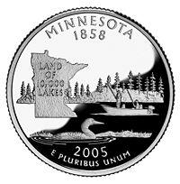Cara de Minnesota de una moneda de 25 centavos de dólar.