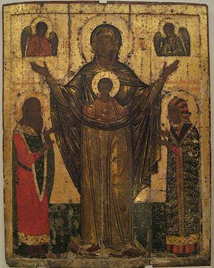 Daumantas of Pskov - Our Lady of Mirozh with Daumantas and his wife Maria from the Mirozhsky Monastery