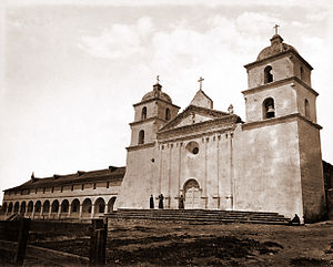 Mission Santa Barbara - The Mission in 1876, photograph by Carleton Watkins