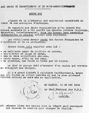 Émile Coulaudon - Order for mobilisation signed by Gaspard on 20 May 1944.