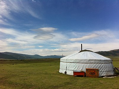 A mongol yurt in the steppe. Khangai Nurru National Park.
